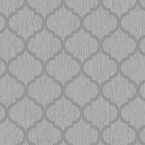 Glitter Trellis Wallpaper Silver Metallic Sparkle Geometric Debona Crystal