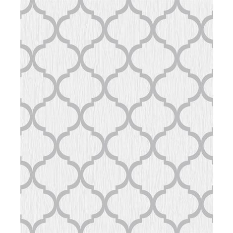 Glitter Trellis Wallpaper White Silver Metallic Sparkle Geometric Debona Crystal