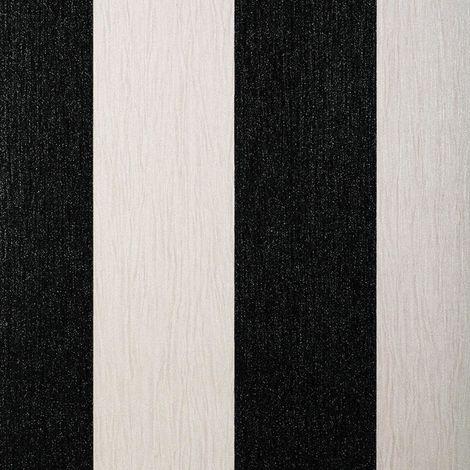 Glitter Wallpaper Crystal Shimmer Sparkle Striped Stripy Vinyl Ivory & Black