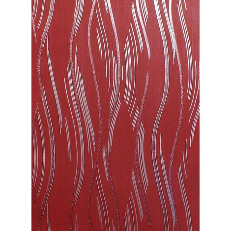 Glitter Wallpaper Shimmer Textured Modern Lines Stripes Red Grey Silver