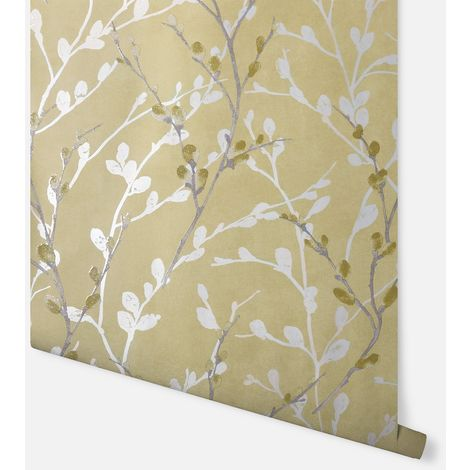 Glitter Willow Ochre Wallpaper - Arthouse - 910002