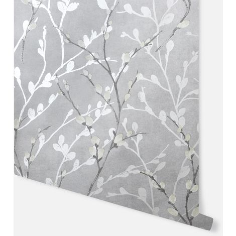 Glitter Willow Silve Wallpaper - Arthouse - 910003