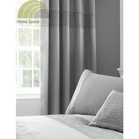 """Glitz Silver Modern Sequin Fully Lined Ready Made Curtains 66x72"""""""