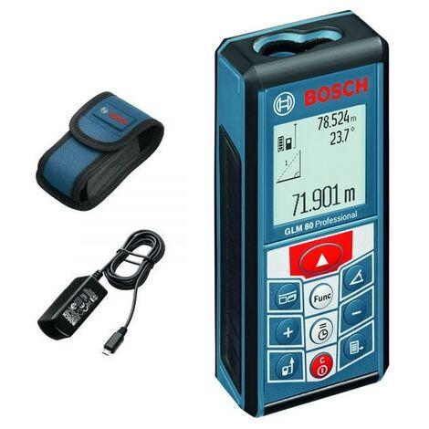Bosch GLM 80 - Télémètre laser avec housse de protection et chargeur - 80m