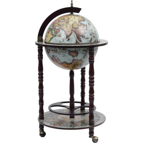 Globe Bar Wine Stand Eucalyptus Wood Blue