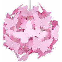 Globe Ceiling Pendant Light Shade + Decorative Pink Butterflies