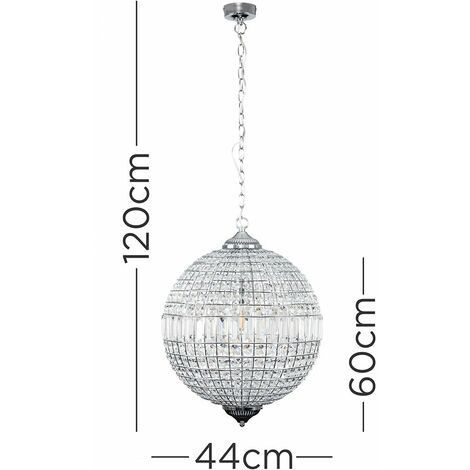 Globe K9 Crystal Jewel Chrome Ceiling Light - No Bulb