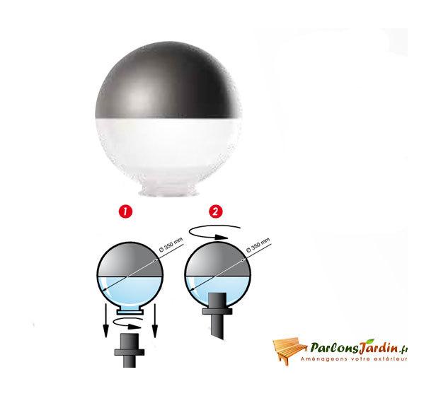 Globe Pour Lampadaire 50 Transparent 50 Titane Versailles Ak2010414