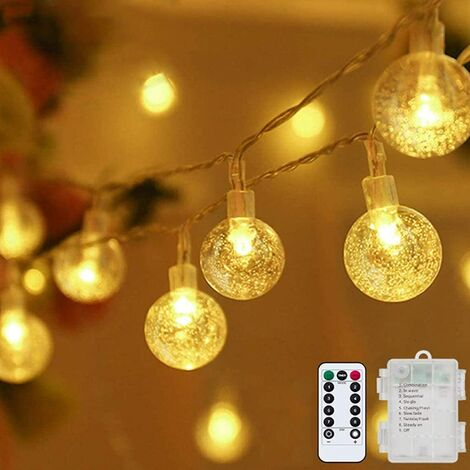 Globe String Lights Fairy Lights Battery Operated 33ft 80LED String Lights with Remote Waterproof Indoor Outdoor Hanging Lights Decorative Christmas Lights for Home Party Patio Garden Wedding