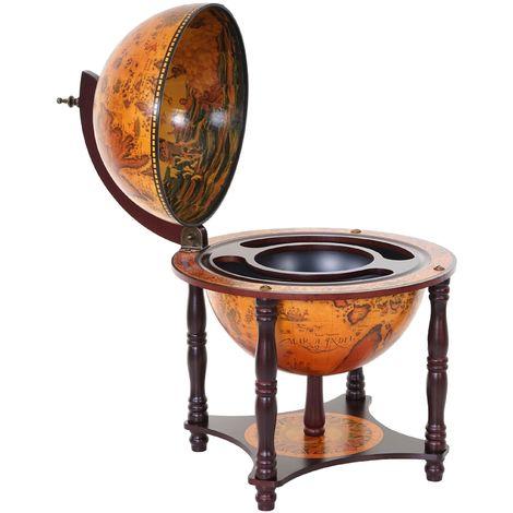 Globe terrestre, bar de salon HHG-5254, minibar, bois d'eucalyptus