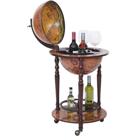 Globe terrestre, bar de salon HHG-7234, minibar roulant, bois d'eucalyptus