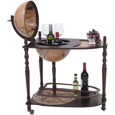 Globe terrestre, bar de salon HHG-7265, minibar roulant, bois d'eucalyptus