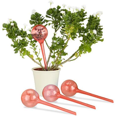 Globes d'arrosage en plastique lot de 4 distributeur eau plantes 2 semaines pot fleurs 250 ml, rouge