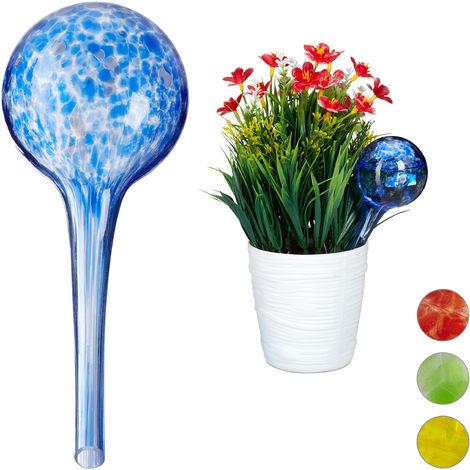 Globes d'arrosage lot de 2, Distributeur eau plantes et fleurs, outil de bureau, Ø 6 cm, verre, bleu