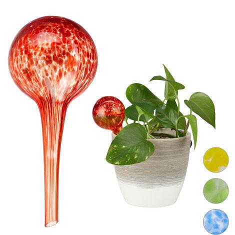 Globes d'arrosage lot de 2, Distributeur eau plantes et fleurs, outil de bureau, Ø 6 cm, verre, rouge