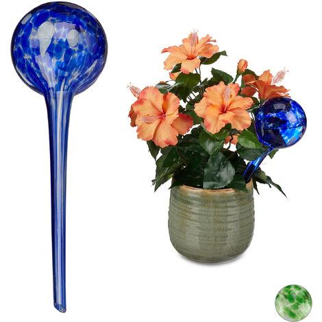 Globes d'arrosage lot de 2, Distributeur eau plantes et fleurs, outil de bureau, Ø 9 cm, verre, bleu