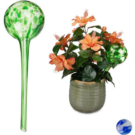 Globes d'arrosage lot de 2, Distributeur eau plantes et fleurs, outil de bureau, Ø 9 cm, verre, coloré