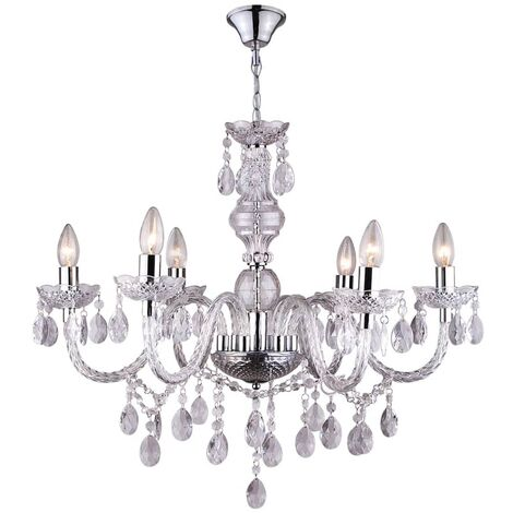 GLOBO Chandelier CUIMBRA I Acrylic Chrome Clear 63116-6