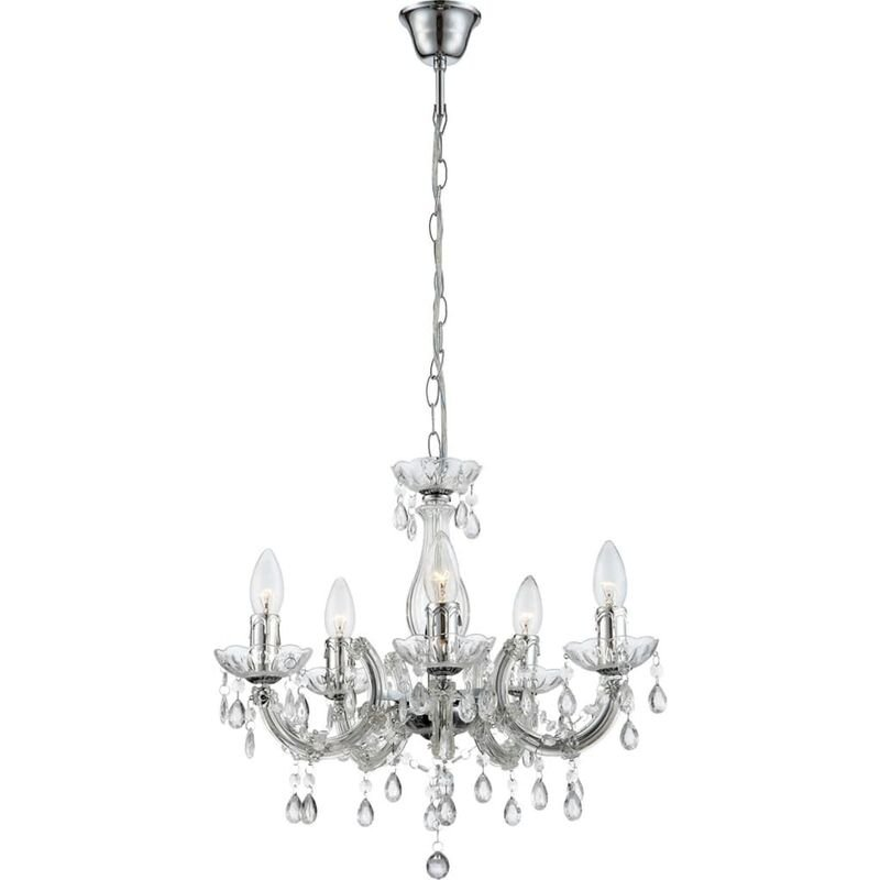 Image of Chandelier CUIMBRA II Acrylic Chrome Clear 63116-5 - Transparent - Globo