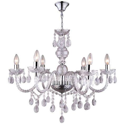 GLOBO Lámpara de araña CUIMBRA I acrílico cromo transparente 63116-6