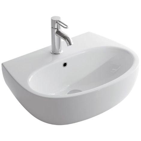 Globo lavabo suspendido 55x42 cm de Vitreous China Grace GL-GR055.BI | Blanco brillo