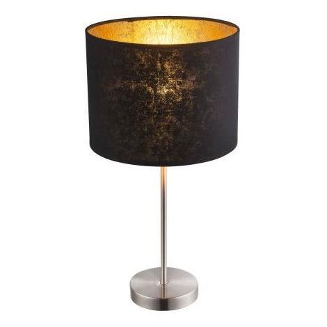 GLOBO LIGHTING Lampe a poser nickel mat - H 35 x Ø 15 cm - Abat-jour noir et doré