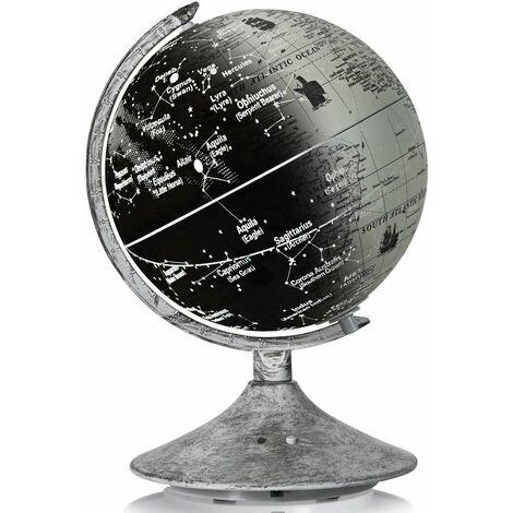 Globo Terráqueo Iluminado de 23 cm de Diámetro Globo del Mundo de Mesa Educativa con Constelaciones Lámpara de Mesilla