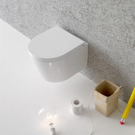 Globo Wc suspendu sans bride 360x430x330 mm (LxPxH) en céramique Forty3 Couvercle amovible en plastique thermodurcissable avec fermeture soft close ; Traitement antibactérien. Trai