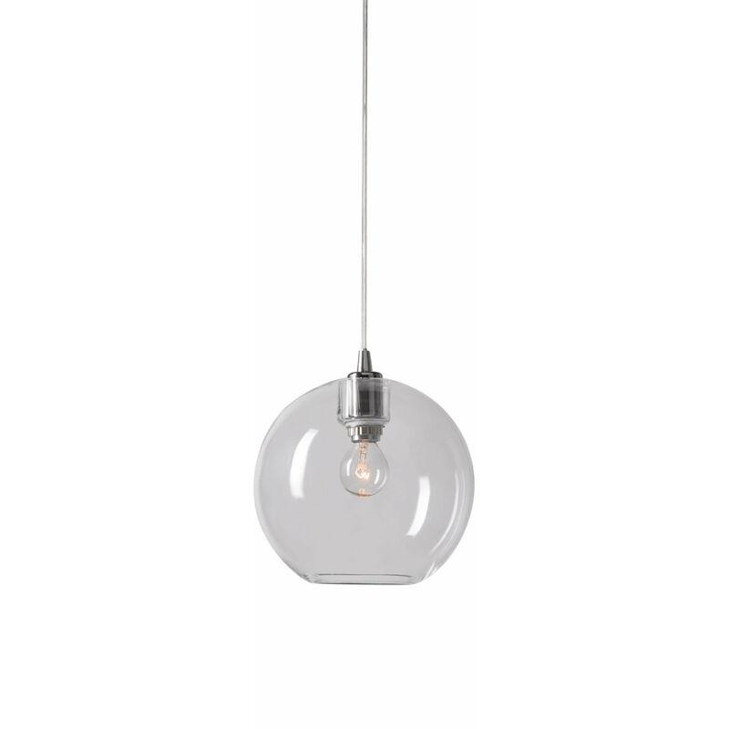 21-belid - GLORIA Pendelleuchte aus Glas und Chrom / Klarglas Durchmesser 17,5 cm
