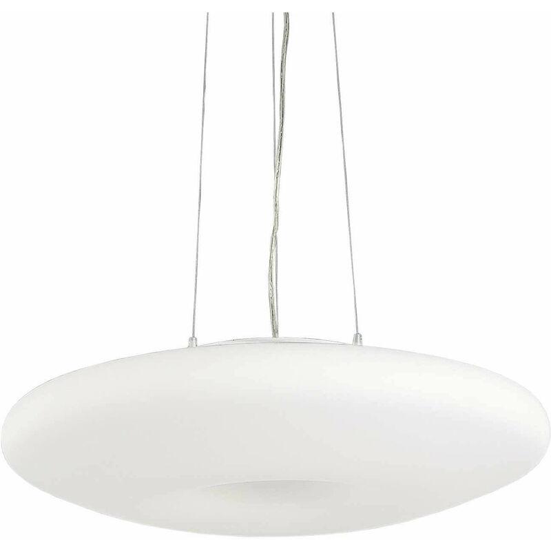 01-ideal Lux - GLORY weiße Pendelleuchte 3 Glühbirnen Durchmesser 20 cm