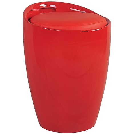 Gloss ABS Faux Leather Seat Kitchen Bathroom Storage Ottoman Stool