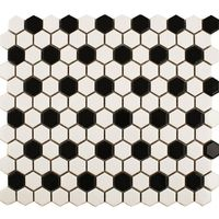 Gloss Black and White Chequered Floor and Walls Tiles - 1 Sheet - (L) 335 (W) 292