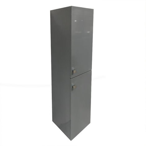 Gloss Grey 1400mm Tall Cupboard Wall Hung Cabinet Bathroom Furniture 2 Door