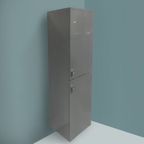 Gloss Grey 1400mm Tall Cupboard Wall Hung High Cabinet Bathroom Furniture with 2 Door
