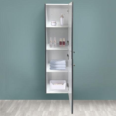 "main image of ""Gloss Grey 1400mm Tall Cupboard Wall Hung High Cabinet Bathroom Furniture with 2 Door"""