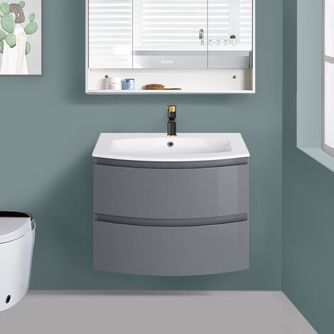 Gloss Grey Bathroom Curved Vanity Basin Unit Wall Hung Drawer Storage Cabinet Furniture 700mm