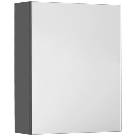Gloss Grey Bathroom Mirror Cabinet Wall Storage Cupboard Furniture 450mm