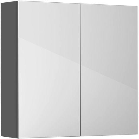 Gloss Grey Bathroom Mirror Cabinet Wall Storage Cupboard Furniture 600mm