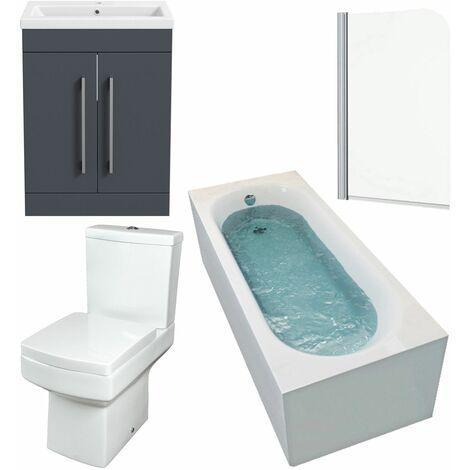 Gloss Grey Bathroom Suite 1700mm Straight Bath Screen Basin Vanity Unit Toilet