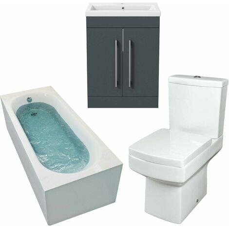 Gloss Grey Bathroom Suite 1700mm Straight Bath Toilet Sink Basin Vanity Unit