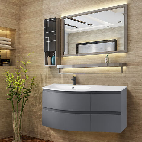 Gloss Grey Bathroom Vanity Basin Unit Wall Hung Left Curved Drawer Storage Cabinet Furniture 1000mm