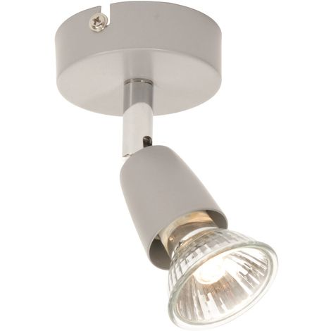 Gloss Silver Silver with Chrome Single Adjustable Ceiling or Wall Spotlight Lamp
