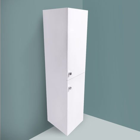 Gloss White 1400mm Tall Cupboard Wall Hung Cabinet Bathroom Furniture 2 Door