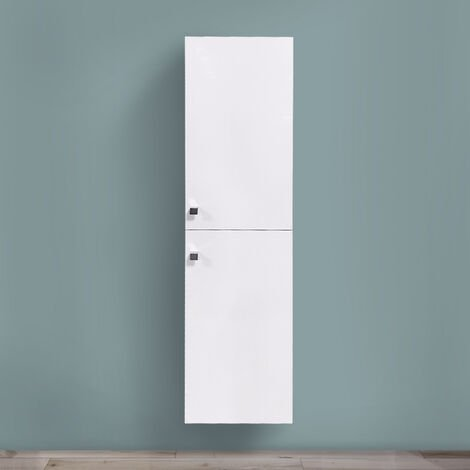 Gloss White 1400mm Tall Cupboard Wall Hung High Cabinet Bathroom Furniture with 2 Door