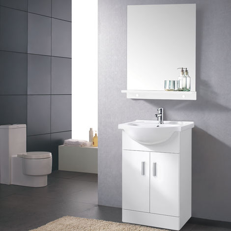 Gloss White Basin Vanity Cabinet Bathroom Storage Furniture Sink Unit