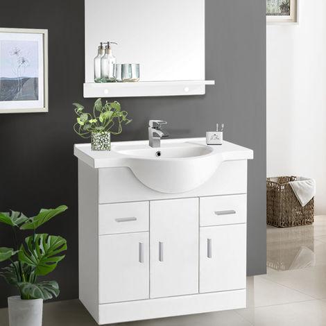 Gloss White Basin Vanity Cabinet Bathroom Storage Furniture Sink Unit
