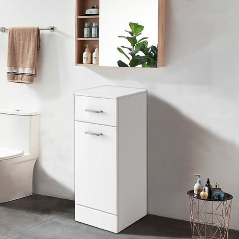 Gloss White Bathroom Cupboard and Drawer Storage Furniture Unit 300mm