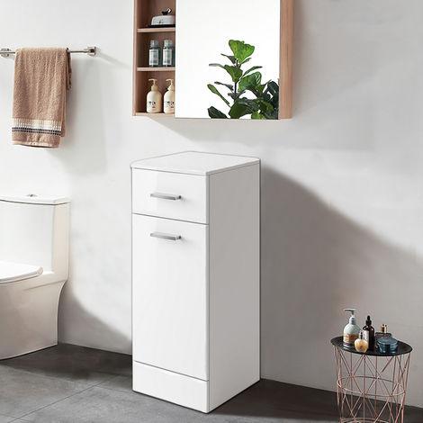 Gloss White Bathroom Laundry Basket Cupboard Drawer Storage Furniture Unit 300mm