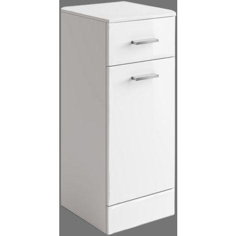 Gloss White Bathroom Laundry Basket Cupboard Drawer Storage Furniture Unit