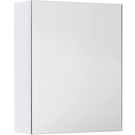 Gloss White Bathroom Mirror Cabinet Wall Storage Cupboard Furniture 450mm